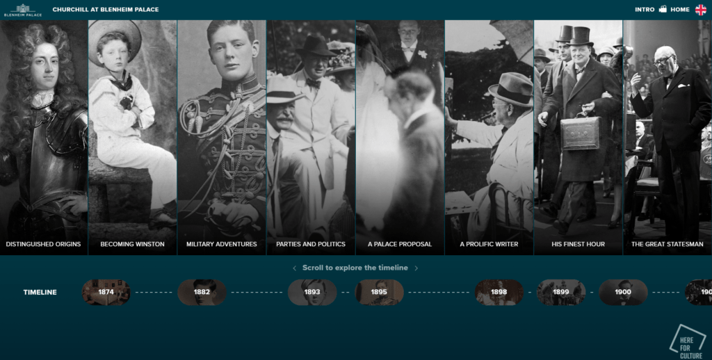 A screenshot of an interactive website, containing black and white images of Winston Churchill through the ages.